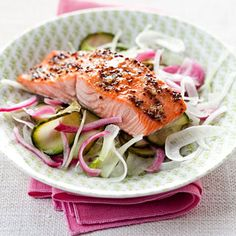 Maple-Glazed Salmon With Pickled Cucumber    Though the glaze on the salmon contains maple syrup, the sweetness is mellowed by spicy garlic, cumin, and mustard. Combine that with tangy pickled cucumbers, and you have a flavor-packed meal for 250 calories.