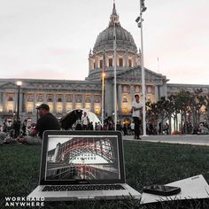 San Francisco CA (Civic Center)   by Benson (@imaginaryzebra)   Use our app to find the best cafes and spaces to work from. -- Our co-founder Benson found an outdoor spot in front of the San Francisco Civic Center.  Wallpaper by: @adjusts -- #workhardanywhere