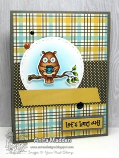 YNS Supplies:  Life's A Hoot Stamp set | Life's A Hoot Die set  |Circles with Stitching and Piercing Marks die set  | Stitched Rectangle Die set | Gumdrops