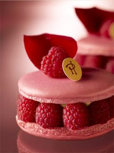 Pierre Hermes signature macaroon combination - lychee, rose and raspberry.