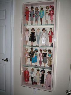 Pink-Wood-Wall-Curio-Cabinet-4-shelves-Plexiglas-Display-Case-Glass-Barbie-Doll