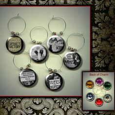 Suffrage Women's Voting Equal Rights wine charm set by Yesware11 on Etsy.. click for details!