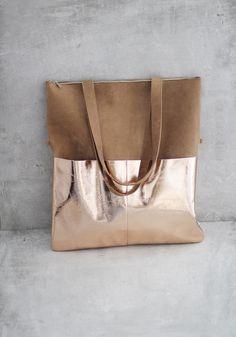 Einkaufstaschen - Lederbeutel von ElektroPulli braun / kupfer - ein Designerstück von ElektroPulli bei DaWanda