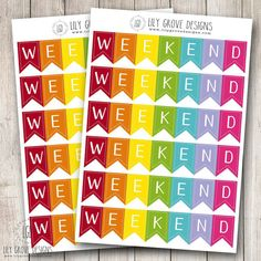 Rainbow 3 Day Weekend Banner Set of 12 perfect by lilygrovedesigns