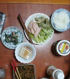7月19日(日) 曇り晴れ 烏賊 鶏肉のペッパー焼き 苦瓜 ゴマ豆腐 白和え キムチ 65.5