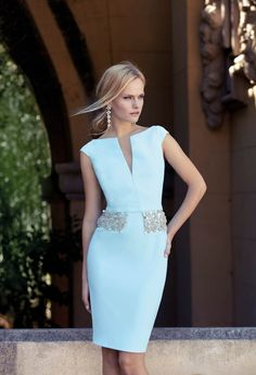 Cocktail dresses for the mother of the bride or stylish guests in light blue. Get to know an amazing mother of the bride dress designer: Carla Ruiz and her modern approach to dressing up the MOB in style! Elegant Dresses, Beautiful Dresses, Belted Dress, Bodycon Dress, Dress Outfits, Fashion Dresses, Ribbed Knit Dress, Short Dresses, Formal Dresses