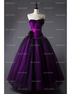 Romantic Purple and Black Feather and Flower Gothic Corset Long Prom Dress - Devilnight.co.uk