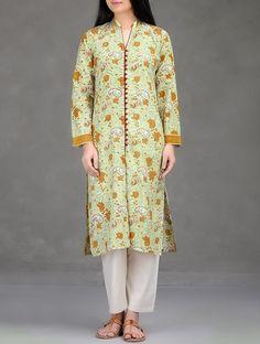 Buy Green Mustard Floral Block Printed Button Down Cotton Kurta Women Kurtas Blossoms Dresses Pants and More Online at Jaypore.com