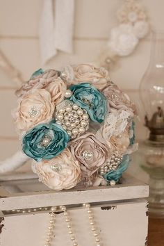 Cream, Ivory and Teal Blue Satin and Lace Bridal Bouquet, Vintage Inspired Fabric and Brooch Wedding Bouquet