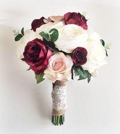 Marsala Silk wedding flowers /Bridal Wedding flowers/ Burgundy Bouquet / Bridal Bouquet /Artificial Wedding Bouquet / Bride'smaids bouquets Marsala burgundy ivory silk bridal bouquet by Lovefromlilywedding Silk Bridal Bouquet, Silk Wedding Bouquets, Bride Bouquets, Bridal Flowers, Silk Flowers, Floral Wedding, Fall Wedding, Autumn Weddings, Silk Roses