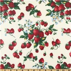 Strawberry Picnic Laminated Cotton Strawberries Ivory/Red