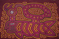 """""""Bird caught fish"""" Mola, intense hand sewn artwork, traditional Kuna fabric panel that once decorated a tribal indian blouse in the San Blas Islands of Panama. asmatcollection on ebay and Bonanza.com cheetahdmr@aol.com"""