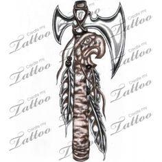 cherokee tomahawk tattoos   Cherokee Tomahawk Bird Head Createmytattoocom