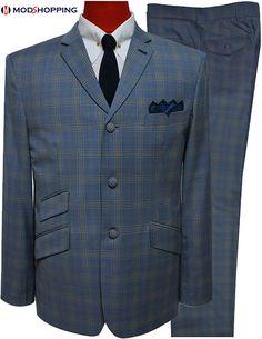 Mens Suits Uk, Mod Suits, Blue Check Suit, Bespoke Suit, Fleece Joggers, Tailored Suits, Personalized T Shirts, European Fashion, Suit Jacket