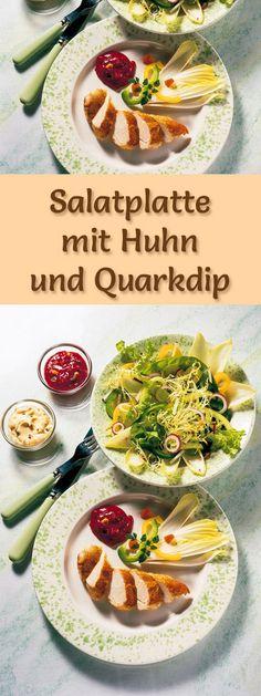 Rezept für Salatplatte mit Huhn und Quarkdip mit viel Eiweiß - und weitere leckere Magerquark-Rezepte zum Abnehmen ...