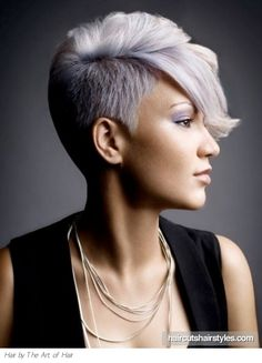 Short hair. Shaved side. I like it! Would it look as cool if her hair was a natural color though? Hmm