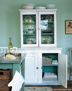 repurposed furniture - stacked cabinet armoire