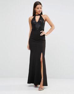 #Valentines #AdoreWe #ASOS - #Lipsy Lipsy Choker Sequin Maxi Dress - Black - AdoreWe.com