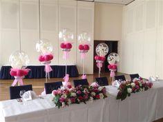 Dekoration Familientisch . Haupttisch . Brauttisch - Hochzeitsdekoration mit Luftballons