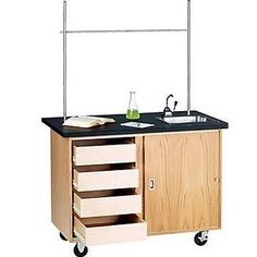 Diversified Woodcrafts 4222K Mobile Demonstration Table W 4 Drawers