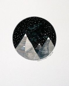 Dream of the Stars 3 - Original 8x10 Watercolour Painting - Night Sky, Mountains - Nursery Art - by Natasha Newton on Etsy, $103.00 CAD