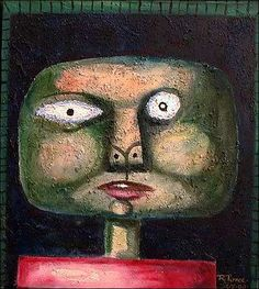 """Cabeza Cosmico"" by Ricardo Ponce, People: Portraits, Miscellaneous, Painting Camille Rose Garcia, Art Brut, Outsider Art, Native Art, Cosmic, The Outsiders, Carving, Christian, Paintings"