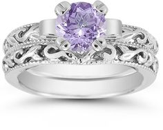 ApplesofGold.com - 1 Carat Tanzanite Art Deco Bridal Ring Set, 14K White Gold