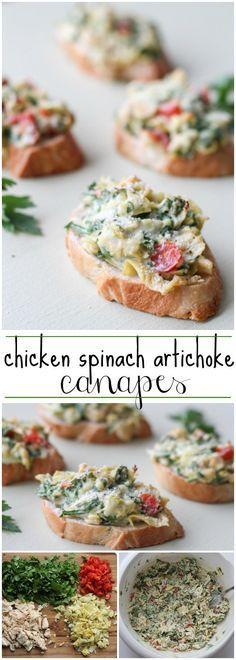 Chicken Spinach Artichoke Canapes. ValentinasCorner.com