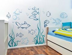 Under the sea Wall Decals Underwater Ocean Fish Decal Nursery Baby Boys Girls Kids Room Decor Wall Art Large Stickers Murals Removable Vinyl - Babyzimmer Nursery Wall Decals Boy, Nursery Themes, Sea Nursery, Girl Nursery, Mural Wall Art, Vinyl Wall Art, Sea Bathroom Decor, Bathroom Wall, Bathroom Decals
