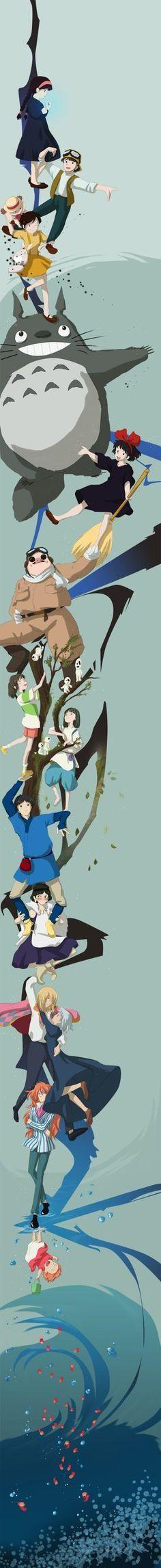 Le château dans le ciel, Mon voisin Totoro, Kiki la petite sorcière, Porco Rosso, Le voyage de Chihiro, Princesse Mononoke, Le château ambulant, Ponyo sur la falaise