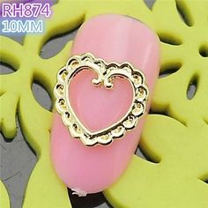 Kaifina 10PCS RH874 Special Design Heart Luxury 3D Alloy nail art DIY Nail beauty Nail Decoration Nail Salon ** Click image to review more details.