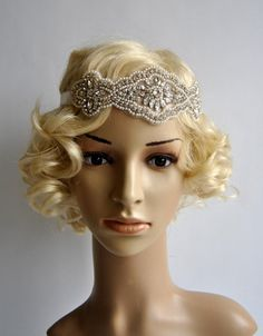 Crystal Rhinestone & Pearls flapper Gatsby by BlueSkyHorizons
