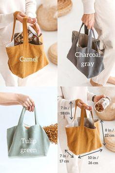 Diy Tote Bag, Linen Bag, Fabric Bags, Cloth Bags, Charcoal Gray, Dark Grey, Small Bags, Canvas Tote Bags, Bag Making