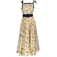 Pre-owned 1950s silk nautical theme dress ($525) ❤ liked on Polyvore featuring dresses, day dresses, white dress, nautical cocktail dress, white nautical dress, pre owned dresses and nautical dress