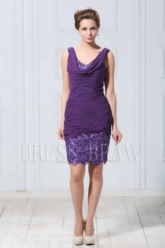 Fashionable Lace Trimmed Sheath/Column V-Neck Knee-Length Veronika's Mother of the Bride Dresses, 60% off on dressbraw!