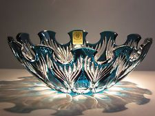 Caesar Crystal Bowl Hand Cut to Clear Bohemian Czech Cased Overlay Art Lead Glas