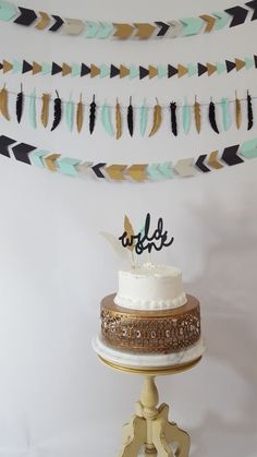 Tribal Wild One Feather First Birthday Party Cake by eventprint