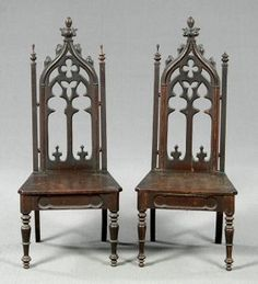 Gothic Revival Side Chairs...add cream tufted upholstered seats and they would be Fab...love