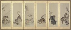 Tigers 猛虎図押絵貼屏風 Japanese Edo period 18th century Shirai Chokuken (Japanese,)
