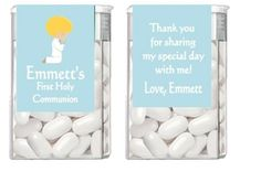 Personalized First Communion Tic Tac Label Party Favor - Kneeling Praying Boy (race and hair color can be changed)