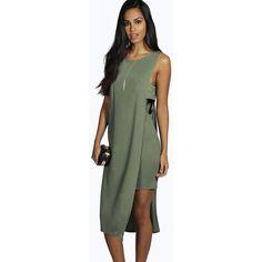 Boohoo Night Clara Tabard Overlay Midi Dress ($26) ❤ liked on Polyvore featuring dresses, khaki, cocktail dresses, green cocktail dress, bodycon dress, bodycon midi dress and green bodycon dress