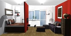 Výsledek obrázku pro obývák a ložnice v jednom Divider, Furniture, Home Decor, Decoration Home, Room Decor, Home Furnishings, Home Interior Design, Room Screen, Home Decoration