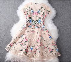 Embroidered Lace Dress In Baige