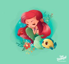 Step by Step illustration - Ariel, The Little Mermaid fanart♫ UNDER THE SEA…. ♪ Illustration from The Little Mermaid Disney movie, i h. Ariel, The Little Mermaid - Illustration fanart Ariel Mermaid, Mermaid Disney, Ariel The Little Mermaid, Disney Artwork, Disney Drawings, Cartoon Drawings, Illustration Art Nouveau, Mermaid Illustration, Disney Princesses And Princes