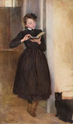 The Girl with the black kitten   -    Lluïsa Vidal i Puig, 1903  Catalan, 1876-1918  Oil on canvas, 156 x 90 cm   Museu Nacional de Catalunya