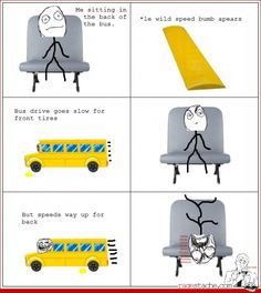 Le back seat is no longer fun School Bus Safety, School Bus Driver, School Buses, Rage Comics Funny, Cute Comics, Bus Humor, Bus Information, Funny Text Memes, Wheels On The Bus