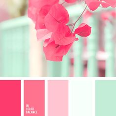For a baby nursery, kitchen, girls room. bright, fresh mint color should be complemented with shades of crimson to create an original color combination. Use these colors when decorating - Color Palette Ideas Colour Pallete, Colour Schemes, Color Combinations, Color Palettes, Paint Schemes, Color Balance, Design Seeds, Mint Color, Red Color