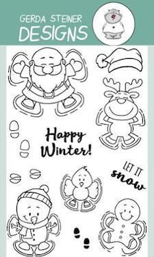 Who says just kids lay down to create snow angels in the snow?Santa, a reindeer, a snowman, a bird and a gingerbread man are having just as much fun! Even thou