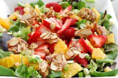 TRIED IT - LOVED IT! Truly the best salad we have ever eaten. Pull back on the candied almonds for less calories, if desired. I could eat those almonds all day! Orange Dressing with Orange Strawberry Salad Add chicken or turkey! Soup Recipes, Great Recipes, Salad Recipes, Cooking Recipes, Favorite Recipes, Healthy Recipes, Recipies, Cooking Tips, Clean Eating