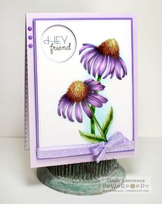 Easy-Breezy-Coneflowers Digital Stamp by Power Poppy, card design by Cindy Lawrence.
